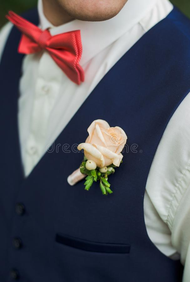 Closeup of handsome adult man festively dressed royalty free stock photo