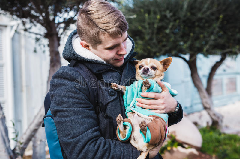 Closeup of handsome young man holding a cute chihuahua dog outdoor royalty free stock images