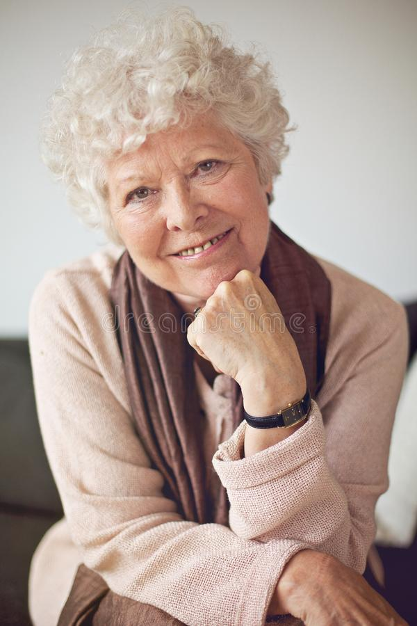 Download Closeup Of A Happy Senior Woman At Home Stock Image - Image: 32338063