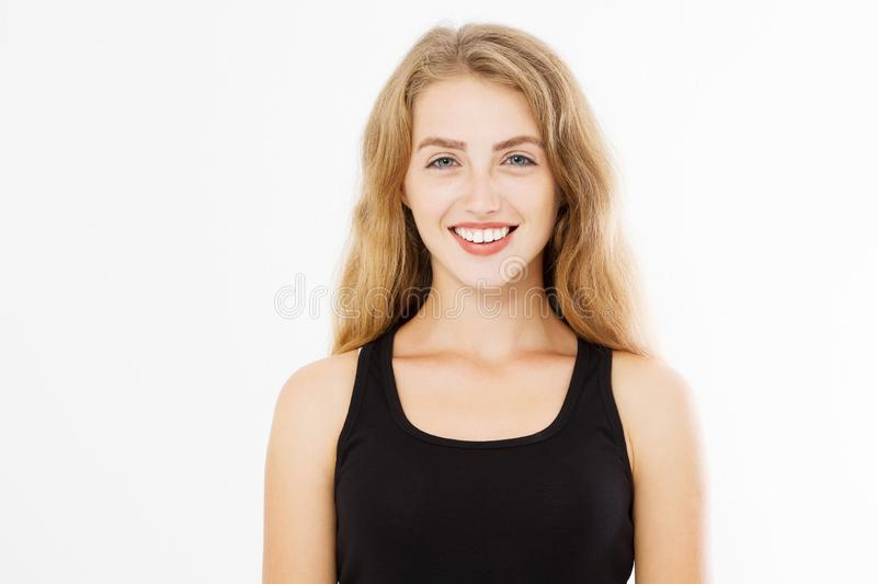 Closeup happy woman face with perfect white teeth smile and skin care isolated on white background. Template blank black summer t stock photography