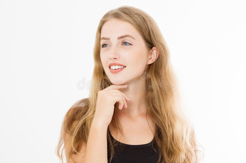Closeup happy woman face with perfect white teeth smile and skin care isolated on white background. Template blank black summer t stock photos