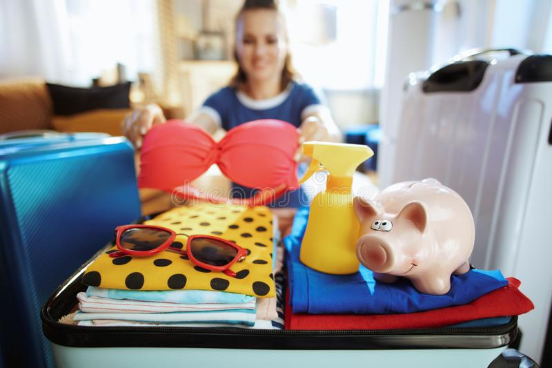Closeup on happy woman with piggy bank calculates summer budget. Closeup on happy stylish woman in blue t-shirt with piggy bank calculates summer budget at royalty free stock image