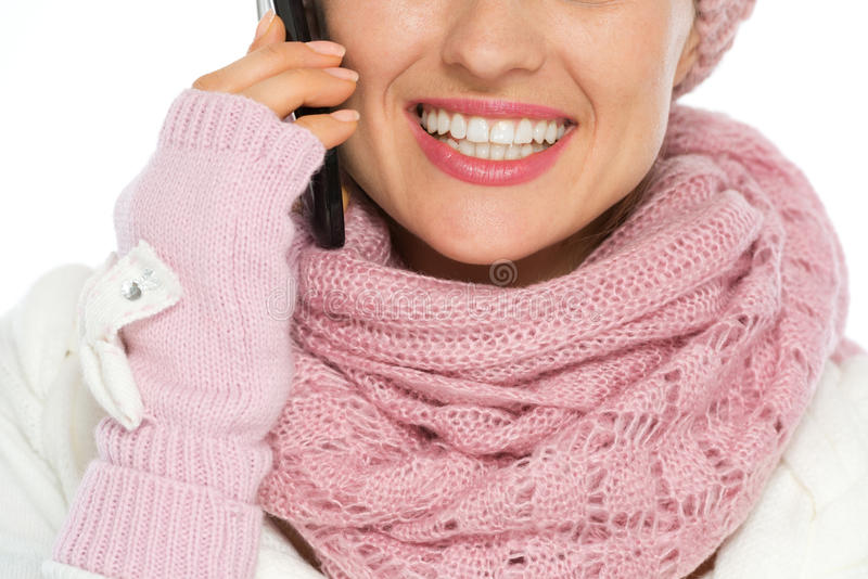 Download Closeup On Happy Woman Speaking Mobile Stock Image - Image: 27269105