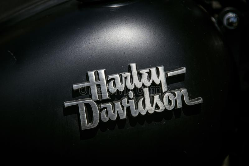Harley Davidson logo on a motorcicle stock images