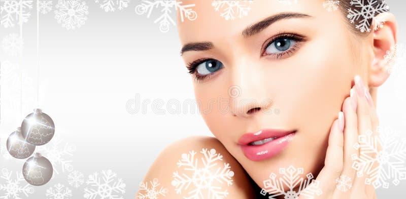 Closeup headshot portrait of a beautiful woman royalty free stock image