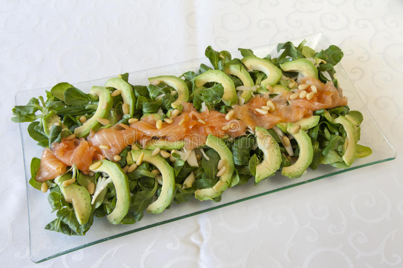 Closeup of healthy salmon salad with avocado and organic vegetables with mustard sauce, selective focus. Closeup of healthy salmon salad with avocado and fresh stock photography