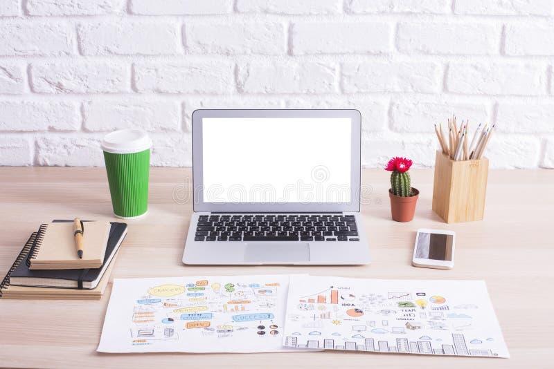 Closeup of hipster desktop stock photo