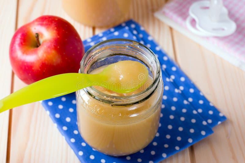 Closeup homemade baby apple sauce royalty free stock photos