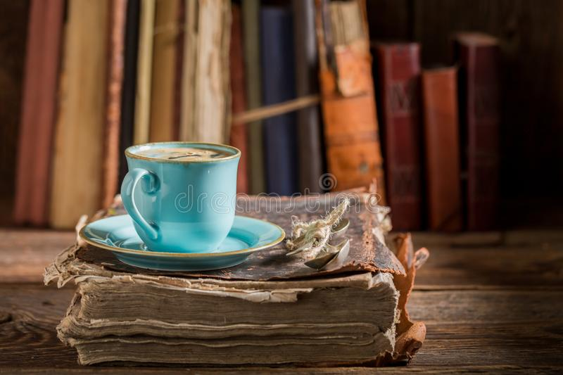 Closeup of homemade cheesecake and coffee on book in library royalty free stock images
