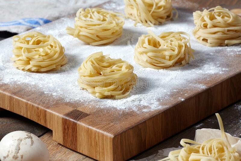 Closeup of homemade noodles royalty free stock images