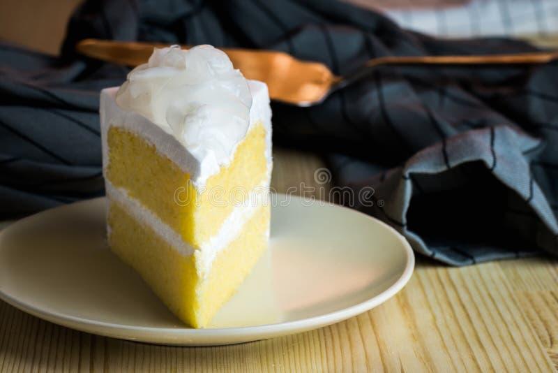 Closeup homemade sweet dessert fresh coconut cream with slice de royalty free stock photo