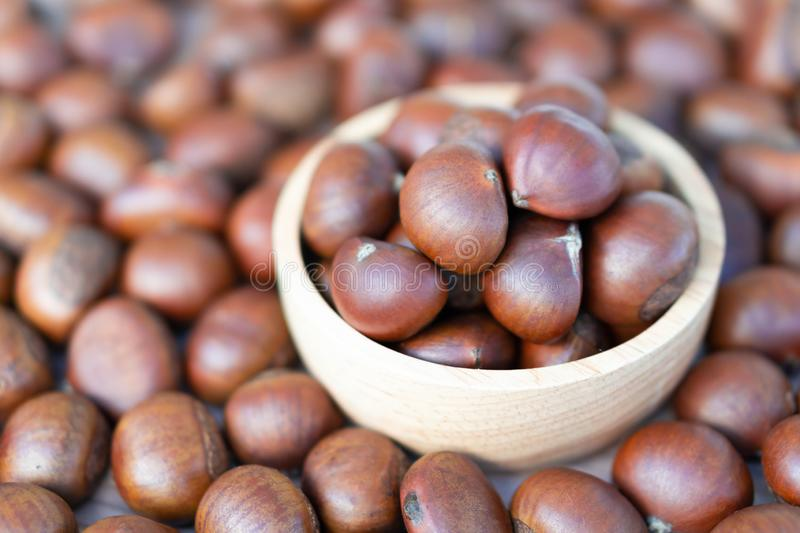 Closeup horse chestnuts in wood bowl isolated on white background,  healthy food concept. Closeup horse chestnuts in wood bowl isolated on white background stock image