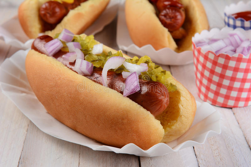 Closeup Hot Dog With Relish and Onions royalty free stock image