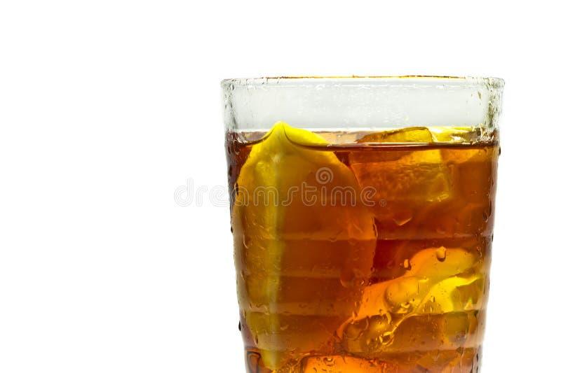 Closeup ice tea with lemon stock photo