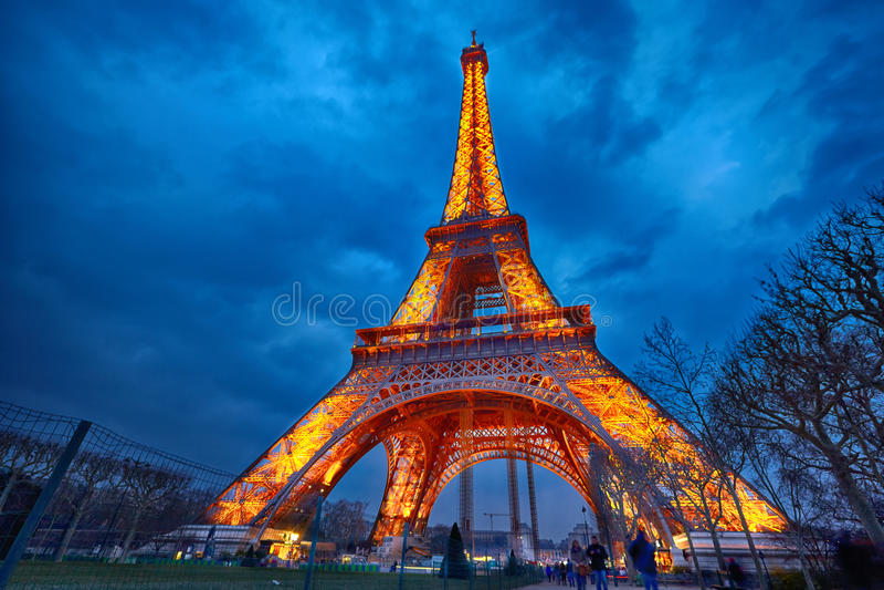 Closeup of illuminated Eiffel Tower at night, Paris royalty free stock photos