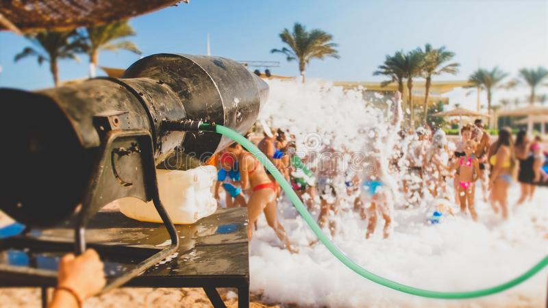 Closeup image of big cannon for making soap foam on the sea beach disco party royalty free stock photos