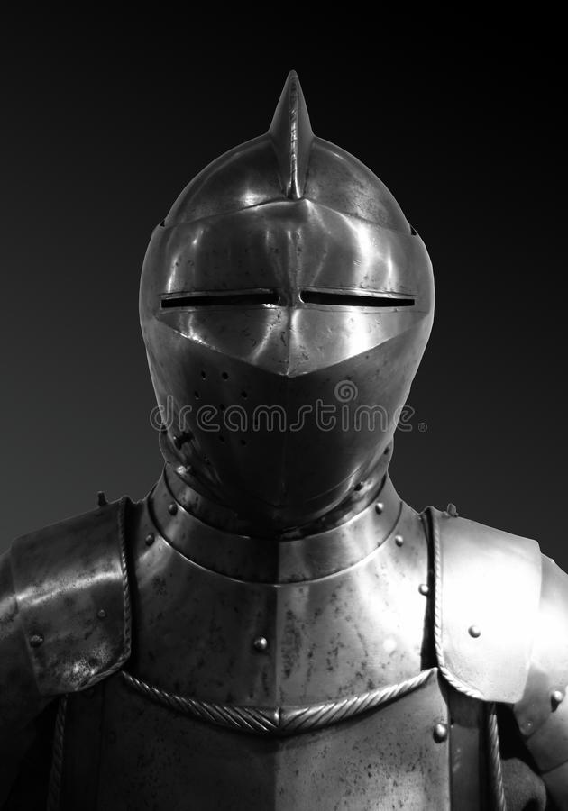 Front View Medieval Knights Armor Suit Helmet stock images