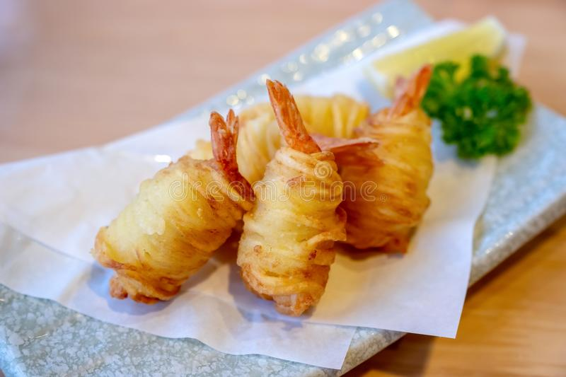 Deep fried shrimp with potato in Japanese style royalty free stock images