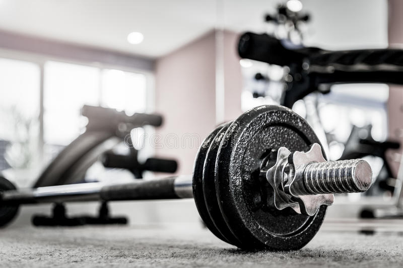 Closeup image of a fitness equipment in gym stock photos