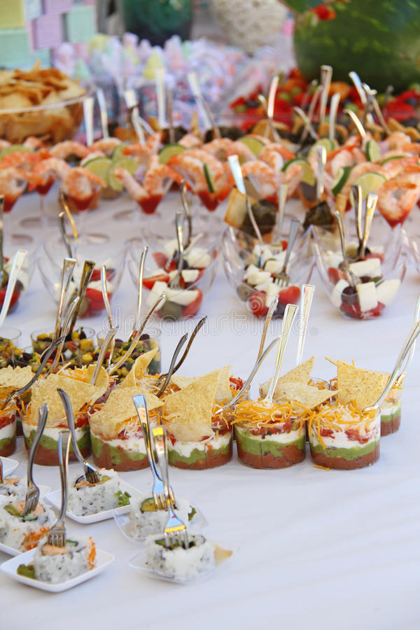 Closeup image of gourmet snacks at the party stock images