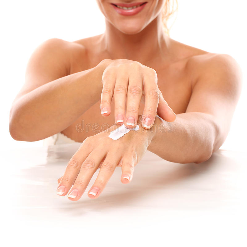 Closeup image of hands in SPA stock photos