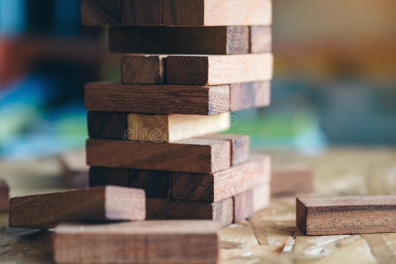 A Jenga or Tumble tower wooden block game. Closeup image of a Jenga or Tumble tower wooden block game royalty free stock image
