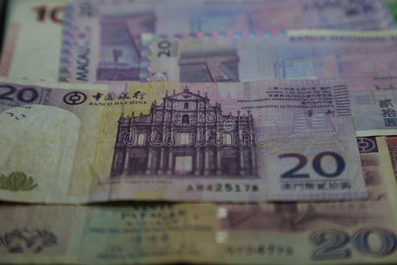 Macanese pataca - Banknotes closeup stock images