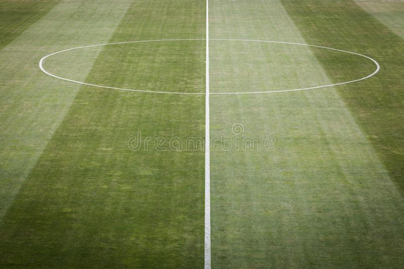 Closeup image of natural green grass soccer field royalty free stock photography