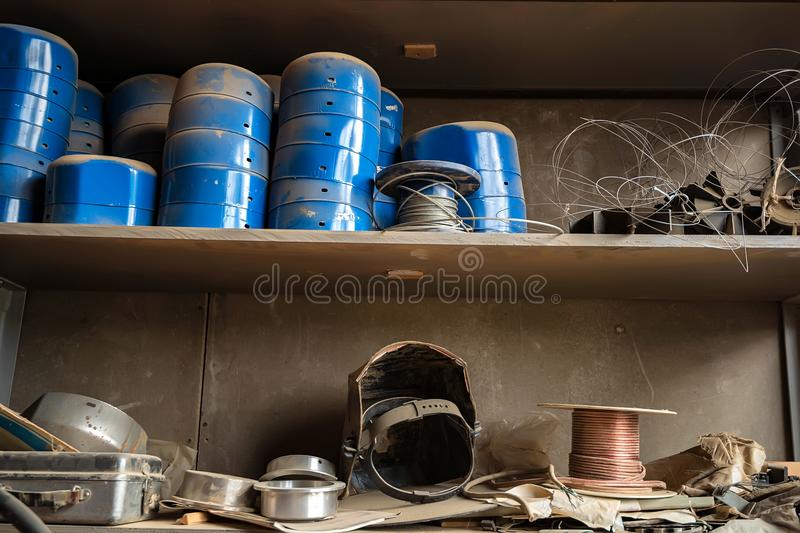 Close up shelves with equipment in joinery royalty free stock image