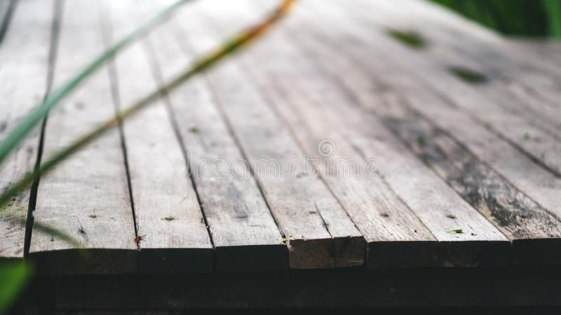 An old wooden terrace in the outdoors background and texture. Closeup image of an old wooden terrace in the outdoors background and texture stock photography