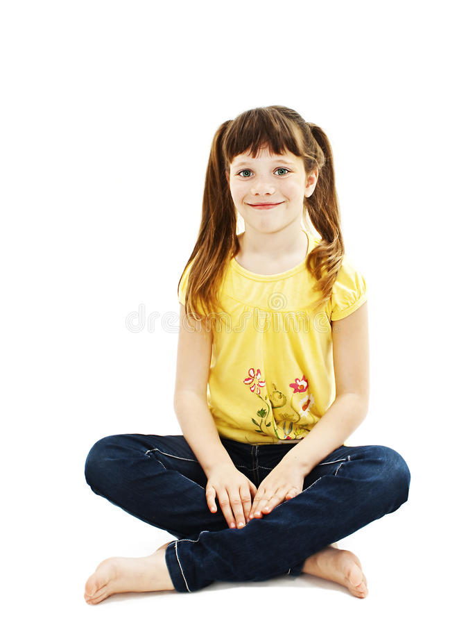 Closeup Image Of A Pretty Little Girl Sitting On The Floor ...