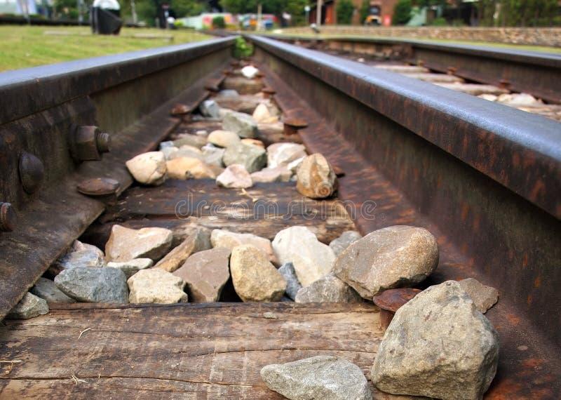 Closeup Image of Two Railtracks stock photography
