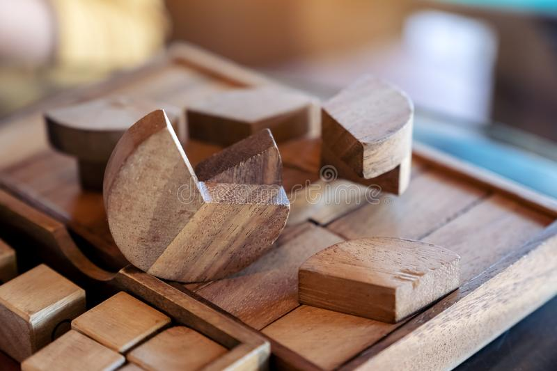 Wooden puzzle tower game. Closeup image of wooden puzzle tower game stock photography