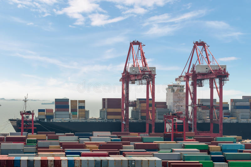 Closeup Industrial port with containers Shanghai Yangshan deepwater port is a deep water port for container ships in Hangzhou Bay royalty free stock photography