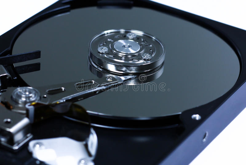 Closeup the inside hard drives stock images