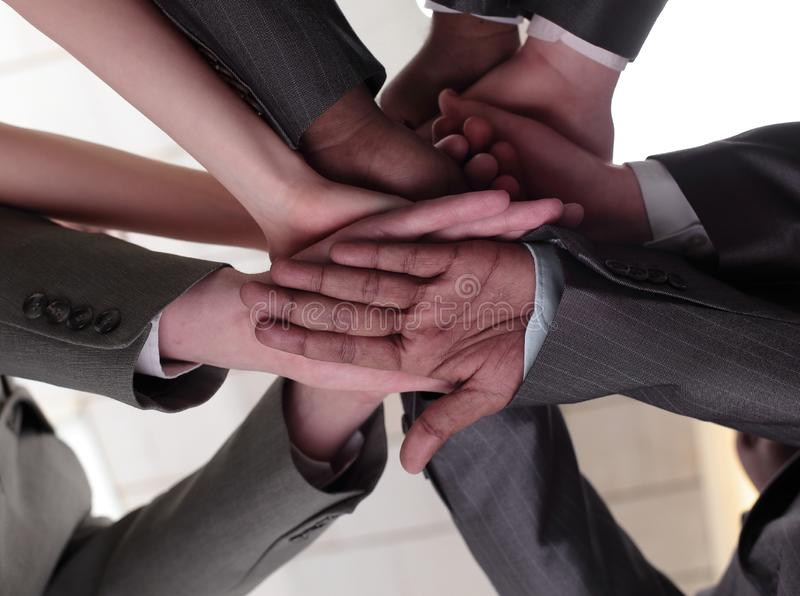 closeup internationellt affärslag som visar deras enhet Begreppet av teamwork royaltyfria bilder