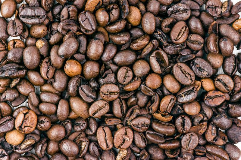 Closeup Of An Italian Roasted Coffee Beans royalty free stock photography