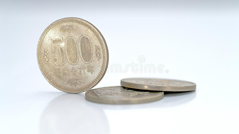 Closeup of Japanese yen money coins stock images