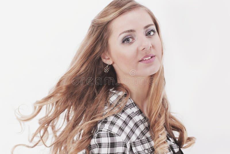 closeup jeunes confiants de femme de verticale d'affaires photographie stock