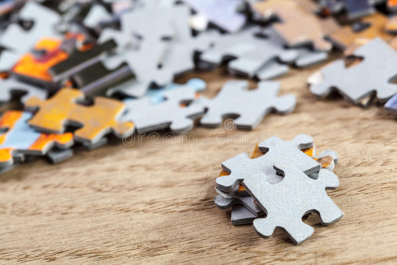 Closeup of Jigsaw Puzzle Pieces royalty free stock image