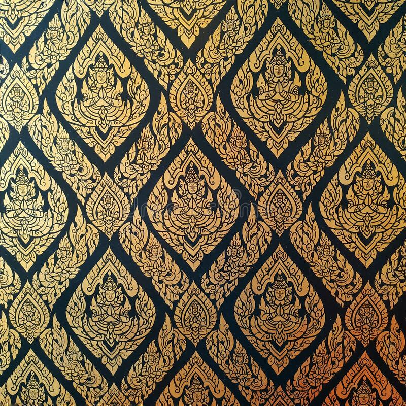 Closeup kanok thai pattern in the temple of thailand. stock images