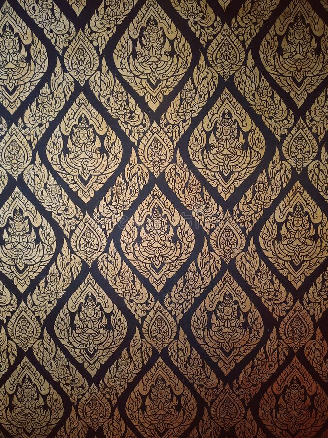 Closeup kanok thai pattern in the temple of thailand. stock image