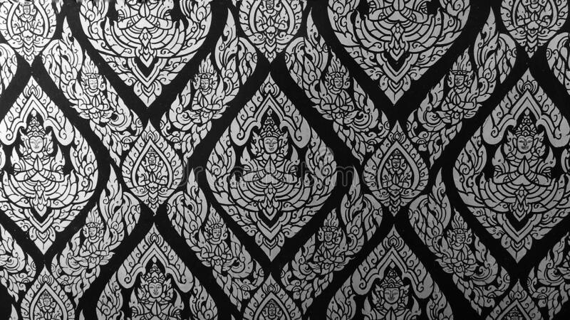 Closeup kanok thai pattern in the temple of thailand. royalty free stock photography
