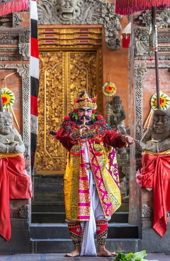 Closeup of King at Sahadewa Barong Dance Studio in Banjar Gelulung, Bali Indonesia. Banjar Gelulung, Bali, Indonesia - February 26, 2019: Mas Village. Play on stock photography