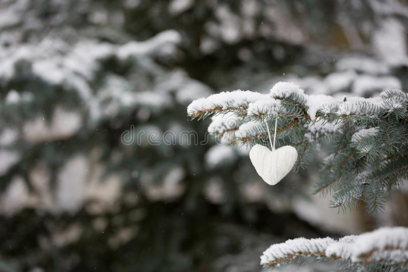 Closeup of knitted heart Christmas decoration on a Christmas tree with snow outdoors. Celebration, winter concept royalty free stock image
