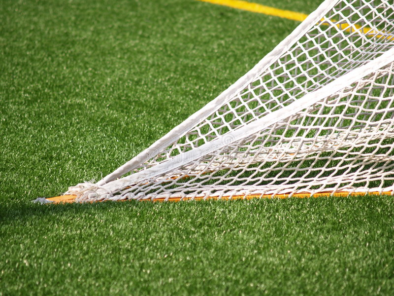 Closeup of lacrosse net. Closeup view of a lacrosse net that is tied on artificial turf royalty free stock photos