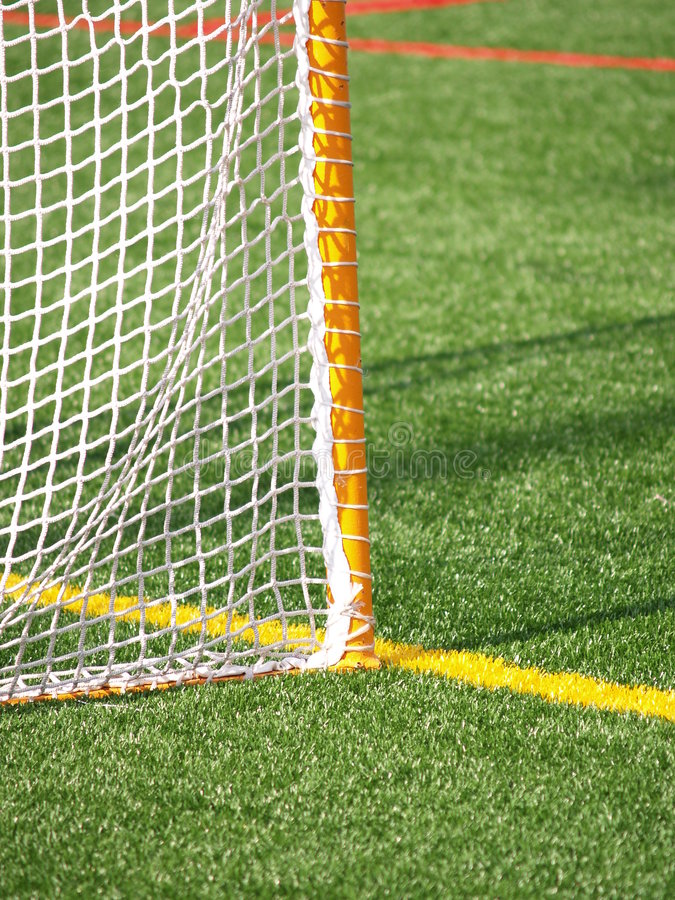 Closeup of lacrosse net. Closeup view of a lacrosse net on artificial turf stock photography
