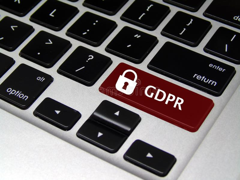 General Data Protection Regulation GDPR - Laptop Button. Closeup of laptop button with GDPR written on it stock photography