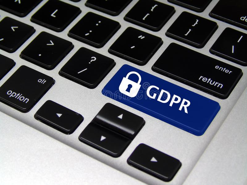 General Data Protection Regulation GDPR - Laptop Button. Closeup of laptop button with GDPR written on it stock image