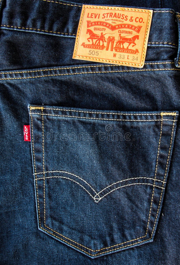 Closeup of leather like heavy card stock label of a pair of Levi's brand. CHIANG MAI, THAILAND- FEBRUARY 15, 2015 - Closeup of leather like heavy card stock stock photography